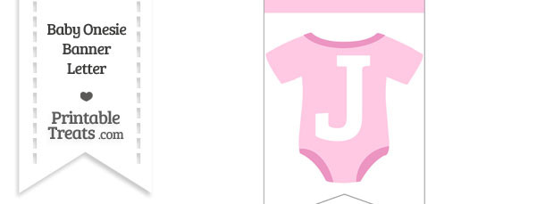 Pink Baby Onesie Bunting Banner Letter J