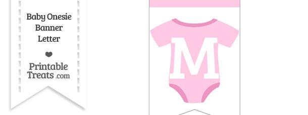 Pink Baby Onesie Bunting Banner Letter M