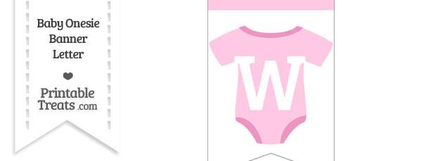 Pink Baby Onesie Bunting Banner Letter W