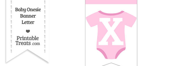 Pink Baby Onesie Bunting Banner Letter X