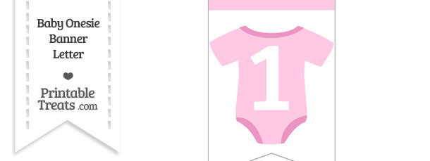 Pink Baby Onesie Bunting Banner Number 1