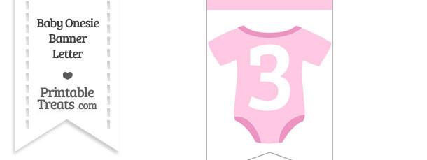 Pink Baby Onesie Bunting Banner Number 3