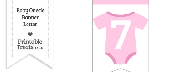 Pink Baby Onesie Bunting Banner Number 7