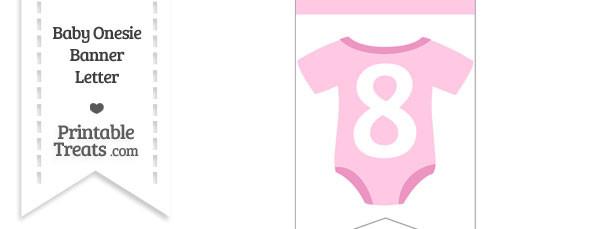 Pink Baby Onesie Bunting Banner Number 8