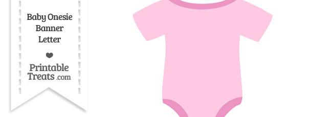 Pink Baby Onesie Shaped Banner Blank