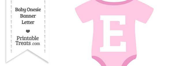 Pink Baby Onesie Shaped Banner Letter E