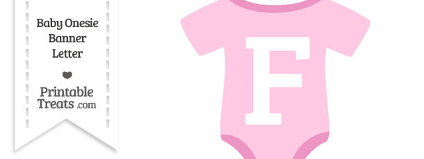 Pink Baby Onesie Shaped Banner Letter F