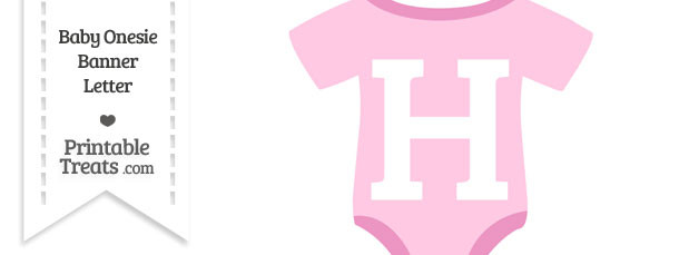 Pink Baby Onesie Shaped Banner Letter H