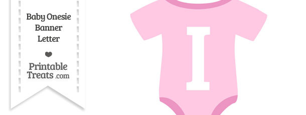 Pink Baby Onesie Shaped Banner Letter I