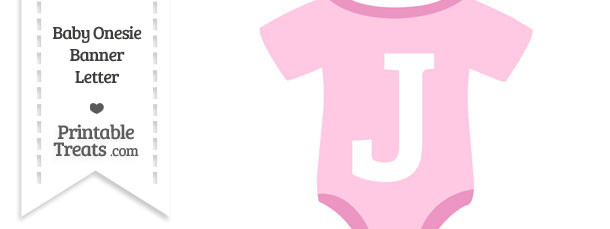 Pink Baby Onesie Shaped Banner Letter J