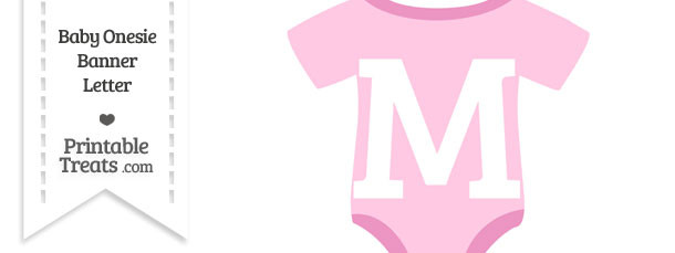 Pink Baby Onesie Shaped Banner Letter M