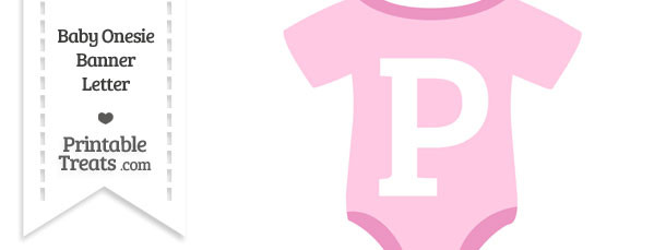 Pink Baby Onesie Shaped Banner Letter P