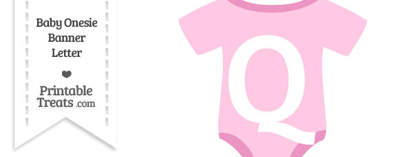 Pink Baby Onesie Shaped Banner Letter Q