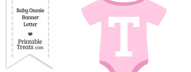 Pink Baby Onesie Shaped Banner Letter T