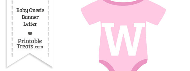 Pink Baby Onesie Shaped Banner Letter W