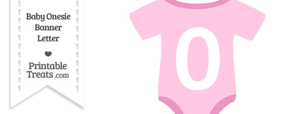 Pink Baby Onesie Shaped Banner Number 0