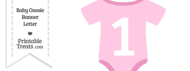 Pink Baby Onesie Shaped Banner Number 1
