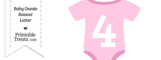 Pink Baby Onesie Shaped Banner Number 4
