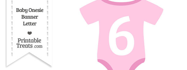 Pink Baby Onesie Shaped Banner Number 6
