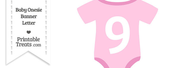 Pink Baby Onesie Shaped Banner Number 9