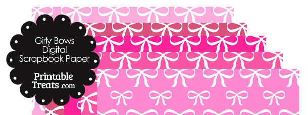Pink Background Girly Bow Digital Scrapbook Paper