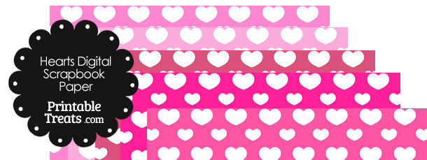 Pink Background Heart Digital Scrapbook Paper