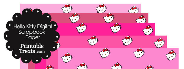 Pink Background Hello Kitty Digital Scrapbook Paper