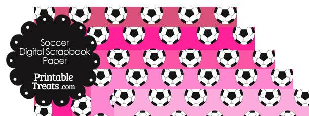 Pink Background Soccer Digital Scrapbook Paper