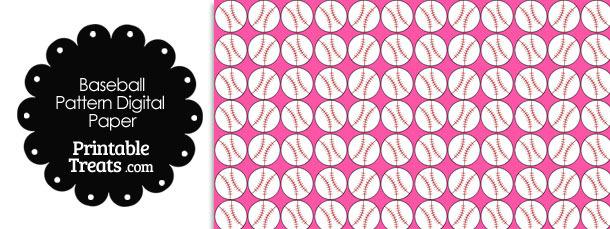Pink Baseball Pattern Digital Scrapbook Paper