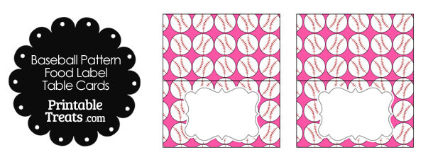 Pink Baseball Pattern Food Labels