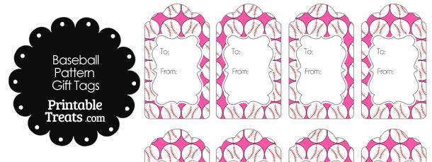 Pink Baseball Pattern Gift Tags