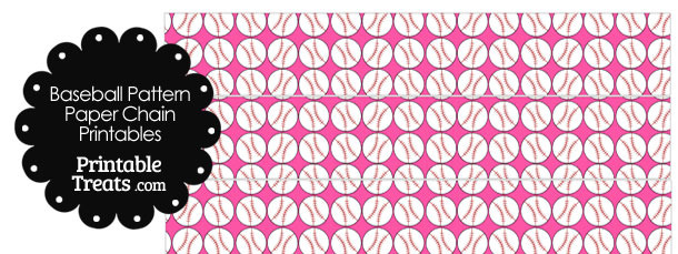 Pink Baseball Pattern Paper Chains
