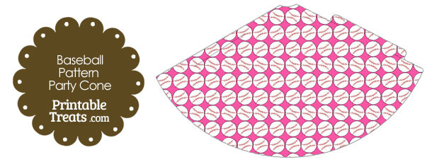 Pink Baseball Pattern Party Cone
