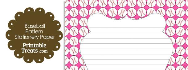 Pink Baseball Pattern Stationery Paper