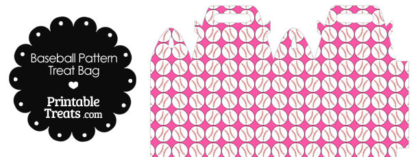 Pink Baseball Pattern Treat Bag