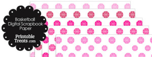 Pink Basketball Digital Scrapbook Paper
