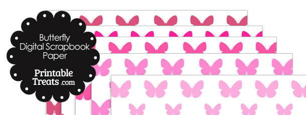 Pink Butterfly Digital Scrapbook Paper