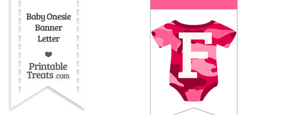 Pink Camo Baby Onesie Bunting Banner Letter F