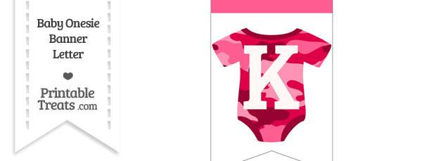 Pink Camo Baby Onesie Bunting Banner Letter K