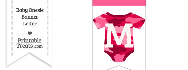Pink Camo Baby Onesie Bunting Banner Letter M