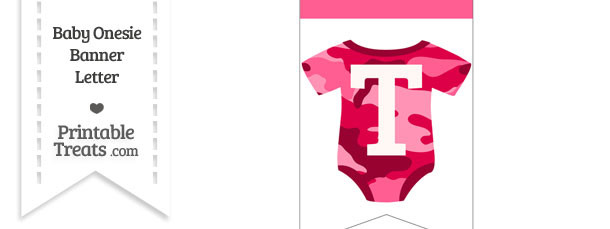 Pink Camo Baby Onesie Bunting Banner Letter T