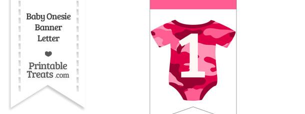 Pink Camo Baby Onesie Bunting Banner Number 1