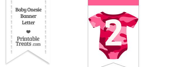 Pink Camo Baby Onesie Bunting Banner Number 2