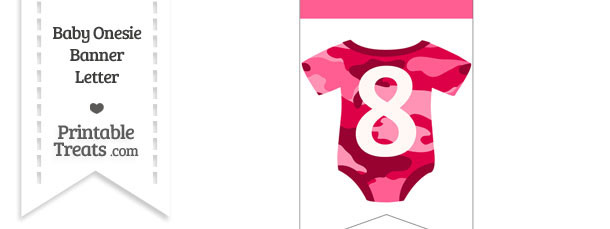 Pink Camo Baby Onesie Bunting Banner Number 8