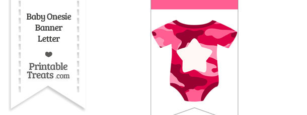 Pink Camo Baby Onesie Bunting Banner Star End Flag