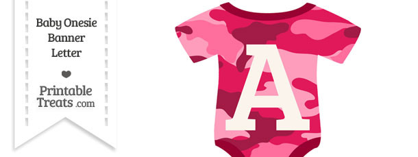 Pink Camouflage Baby Onesie Shaped Banner Letter A