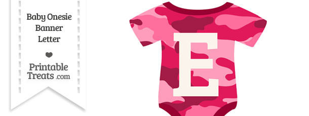 Pink Camouflage Baby Onesie Shaped Banner Letter E