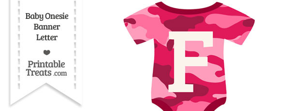 Pink Camouflage Baby Onesie Shaped Banner Letter F