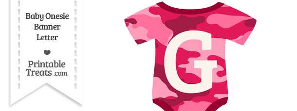 Pink Camouflage Baby Onesie Shaped Banner Letter G