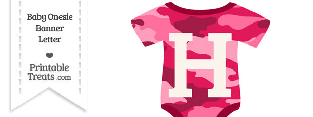 Pink Camouflage Baby Onesie Shaped Banner Letter H